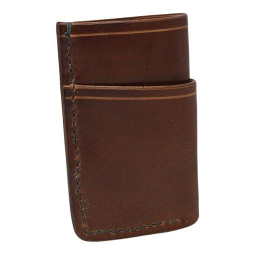 Grommet's Leathercraft Vertical Manu Minimalist Black Shell Cordovan Wallet Back Side