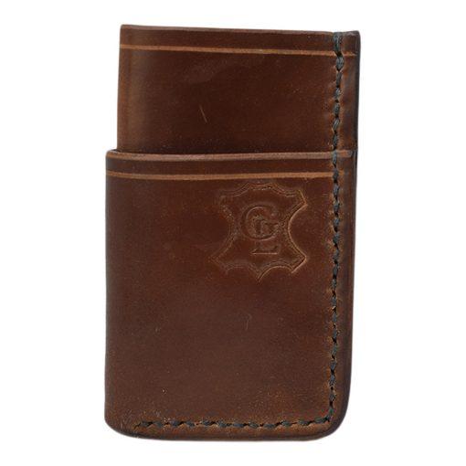 Grommet's Leathercraft Vertical Manu Minimalist Black Shell Cordovan Wallet Front Side