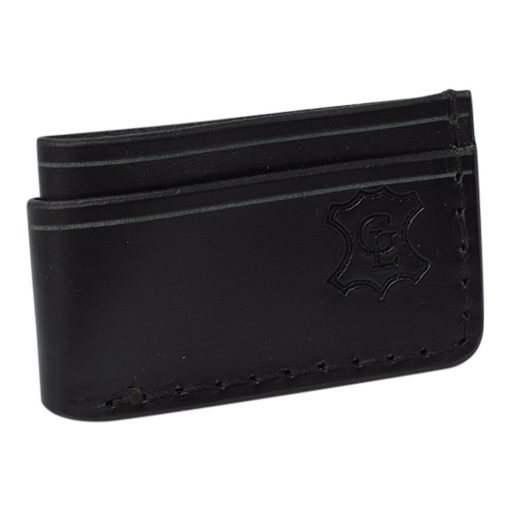 Grommet's Leathercraft Manu Minimalist Black Napa Wallet Front Side