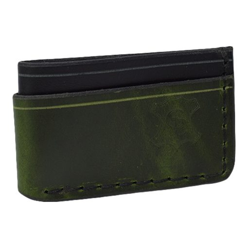 Grommet's Leathercraft Manu Minimalist Black & Green Napa Wallet Front Side