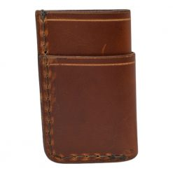 Grommet's Leathercraft Vertical Manu Minimalist Light Brown Napa Wallet Back Side