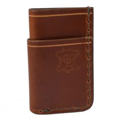 Grommet's Leathercraft Vertical Manu Minimalist Light Brown Napa Wallet Front Side