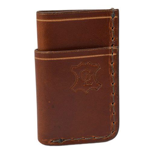 Grommet's Leathercraft Vertical Manu Minimalist Light Brown Napa Wallet Front Side