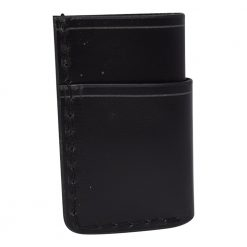 Grommet's Leathercraft Vertical Manu Minimalist Black Napa Wallet Back Side