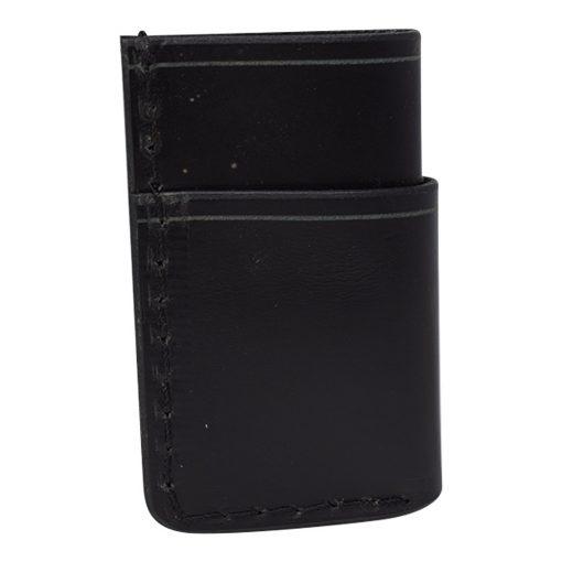 Grommet's Leathercraft Vertical Manu Minimalist Black Napa Wallet Back Side