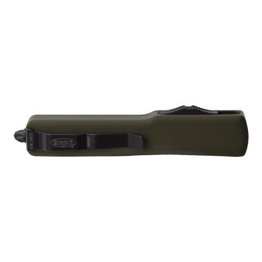 Microtech UTX-70 OTF Automatic Knife Black T/E Blade OD Green Aluminum Handle Back Side Closed