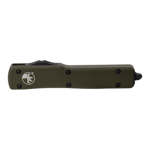 Microtech UTX-70 OTF Automatic Knife Black T/E Blade OD Green Aluminum Handle Front Side Closed