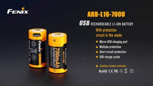 Fenix ARB-L16-700U USB Rechargeable Li-ion 16340 Battery - 700mAh Infographic 1