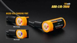 Fenix ARB-L16-700U USB Rechargeable Li-ion 16340 Battery - 700mAh Infographic 2