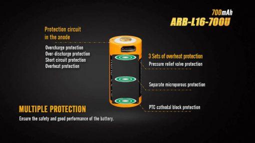 Fenix ARB-L16-700U USB Rechargeable Li-ion 16340 Battery - 700mAh Infographic 3