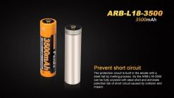 Fenix ARBL18 High-Capacity 18650 Battery - 3500mAh Front With Title Infographic 3