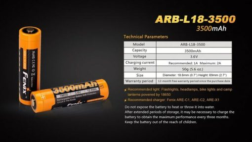 Fenix ARBL18 High-Capacity 18650 Battery - 3500mAh Front With Title Infographic 6