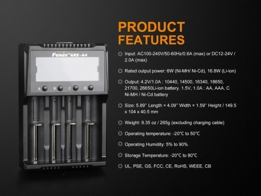 Fenix ARE-A4 Multifunctional Battery Charger Infographic 7