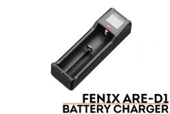 Fenix ARE-D1 Single Channel Smart Battery Charger Front Side Angled With Title