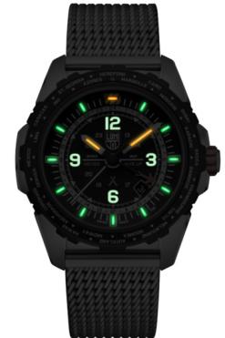 Luminox Bear Grylls Survival AIR Series 3762 GMT Watch Front Side Closed Center Night