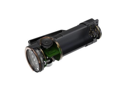 Fenix E18R Rechargeable LED Flashlight - 750 Lumens Infographic Front Side Open