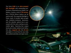 Fenix E18R Rechargeable LED Flashlight - 750 Lumens Infographic 2