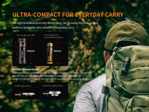 Fenix E18R Rechargeable LED Flashlight - 750 Lumens Infographic 4