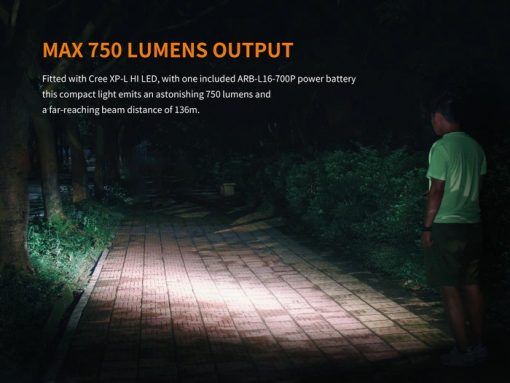 Fenix E18R Rechargeable LED Flashlight - 750 Lumens Infographic 7