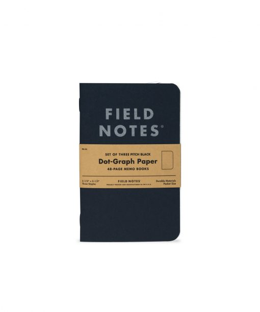 Field Notes Pitch Black Memo Book (48 Pages) Front Side Center
