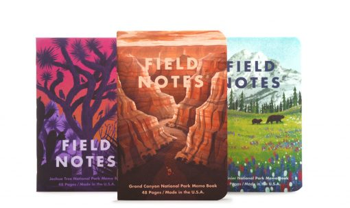 Field Notes National Parks Series B Grand Canyon/Joshua Tree/Mt. Rainier - Graph Paper Memo Book 3 Pack (48 Pages) Front Side Center