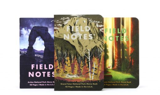 Field Notes National Parks Series D Grand Teton/Arches/Sequoia - Graph Paper Memo Book 3 Pack (48 Pages) Front Side Center Separate