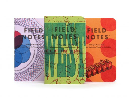 Field Notes United States of Letterpress 3 Pack A - Graph Paper Memo Books (48 Pages) Front Side Center Various