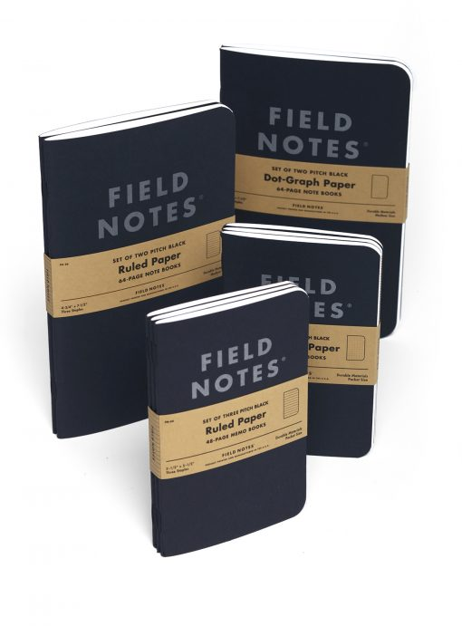 Field Notes Pitch Black Dot Graph Paper Note Book (64 Pages) Family