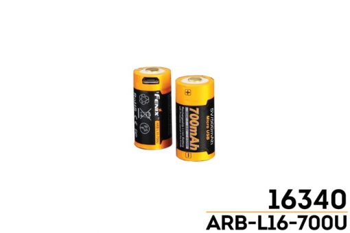 Fenix ARB-L16-700U USB Rechargeable Li-ion 16340 Battery - 700mAh Front and Back Side With Title
