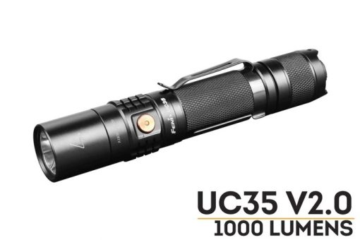 Fenix UC35 V2.0 LED Rechargeable Flashlight - 1000 Lumens Front Side With Title