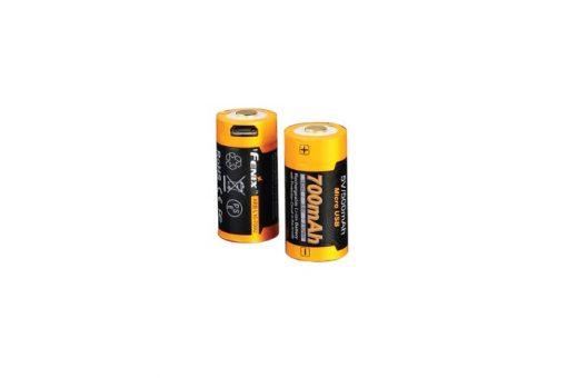 Fenix ARB-L16-700U USB Rechargeable Li-ion 16340 Battery - 700mAh Front and Back Side