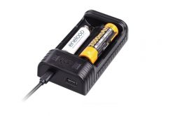 Fenix ARE-X2 Dual Channel Smart Charger Front Side With Batteries