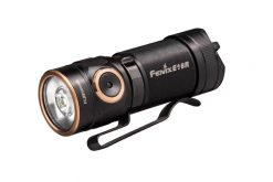 Fenix E18R Rechargeable LED Flashlight - 750 Lumens Infographic Front Side
