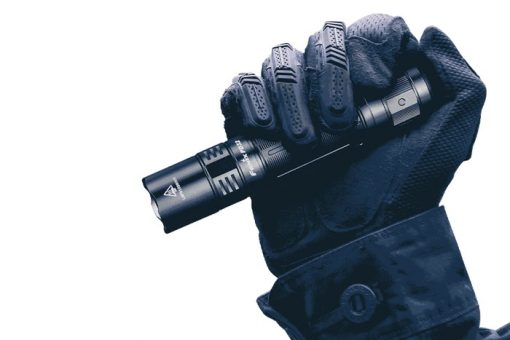 Fenix PD32 V2.0 Compact Flashlight - 1200 Lumens Infographic With Hand