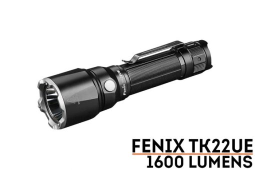 Fenix TK22UE Tactical Flashlight - 1600 Lumens Front Side Angled With TItle
