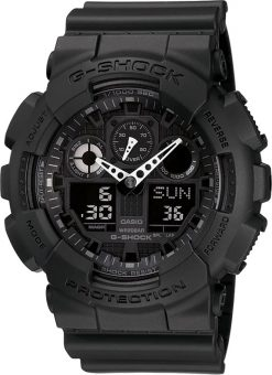G-Shock Analog-Digital X-Large G Black GA100-1A1 Front Side Closed Center Angled