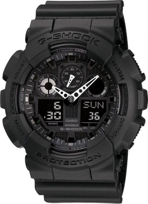 G-Shock Analog-Digital X-Large G Black GA100-1A1 Front Side Closed Center Angled
