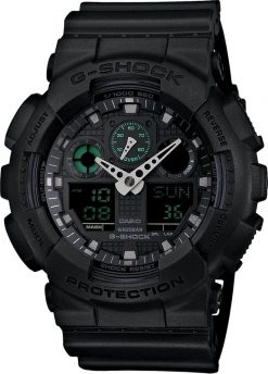 G-Shock Analog-Digital Military Black GA100MB1A Front Side Closed Center Angled
