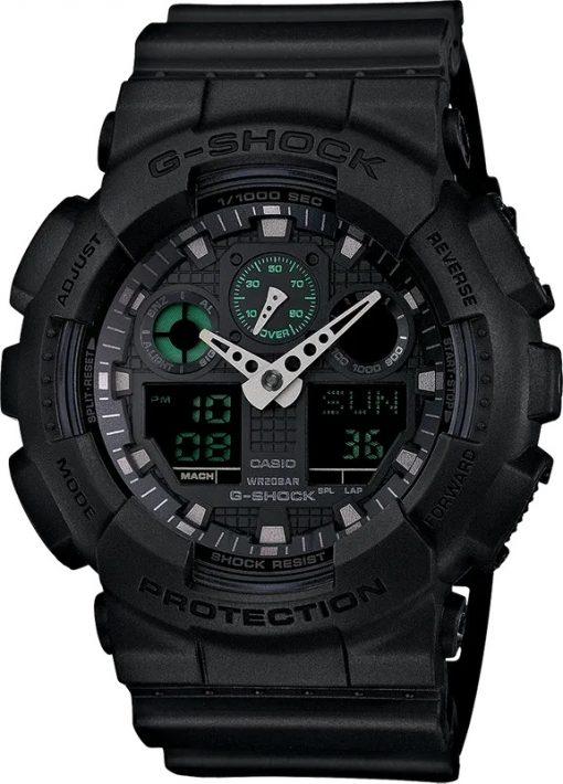 G-Shock Analog-Digital Military Black GA100MB1A Front Side Closed Center Angled