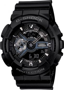 G-Shock Analog-Digital Large Black GA110-1BCR Front Side Closed Center
