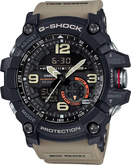 G-Shock Master of G MUDMASTER Brown GG1000-1A5 Front Side Closed Center Angled
