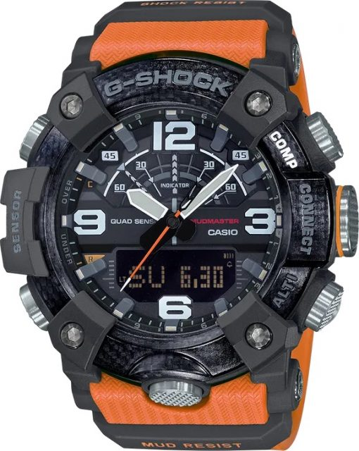 G-Shock Master of G MUDMASTER Orange GGB1001A9 Front Side Closed Center Angled