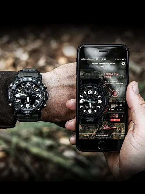 G-Shock Master of G MUDMASTER OD Green GGB1001A3 Front Side Closed With App And Model