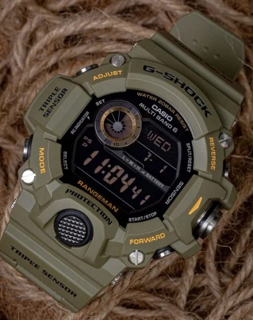 G-Shock Master of G RANGEMAN OD Green GW9400-3 Front Side Closed Angled With Background