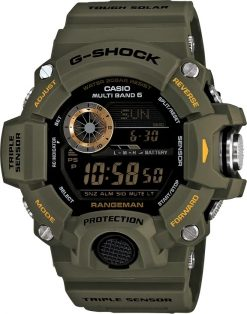 G-Shock Master of G RANGEMAN OD Green GW9400-3 Front Side Closed Center Angled