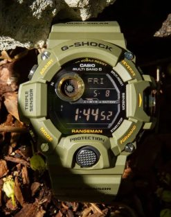 G-Shock Master of G RANGEMAN OD Green GW9400-3 Front Side Closed Center With Background