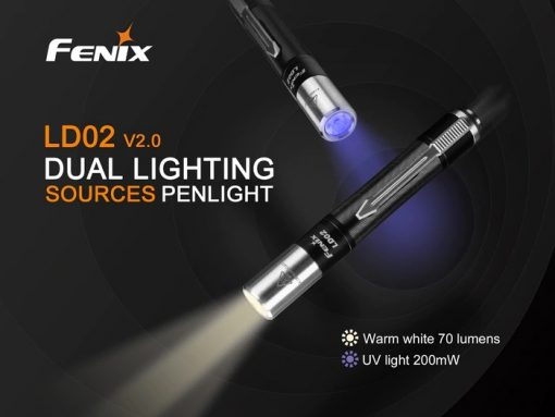Fenix LD02 V2.0 EDC LED Penlight with UV Lighting - 70 Lumens Infographic 1