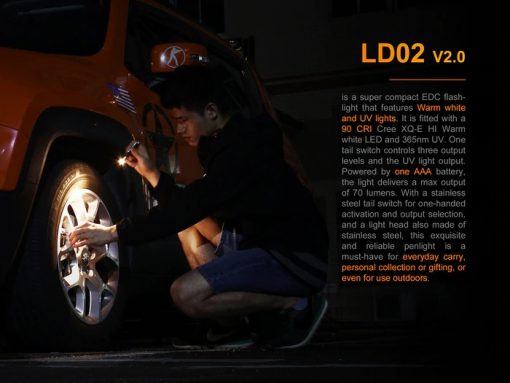 Fenix LD02 V2.0 EDC LED Penlight with UV Lighting - 70 Lumens Infographic 2