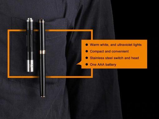 Fenix LD02 V2.0 EDC LED Penlight with UV Lighting - 70 Lumens Infographic 3