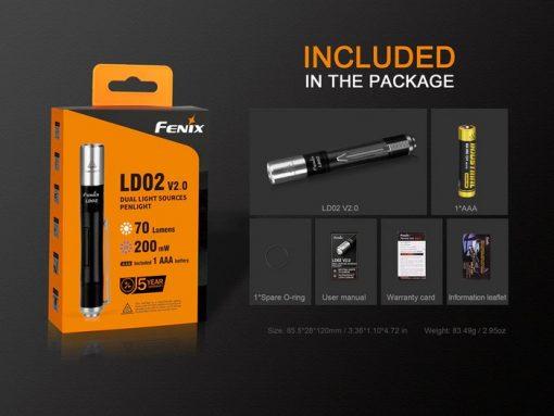 Fenix LD02 V2.0 EDC LED Penlight with UV Lighting - 70 Lumens Infographic 12